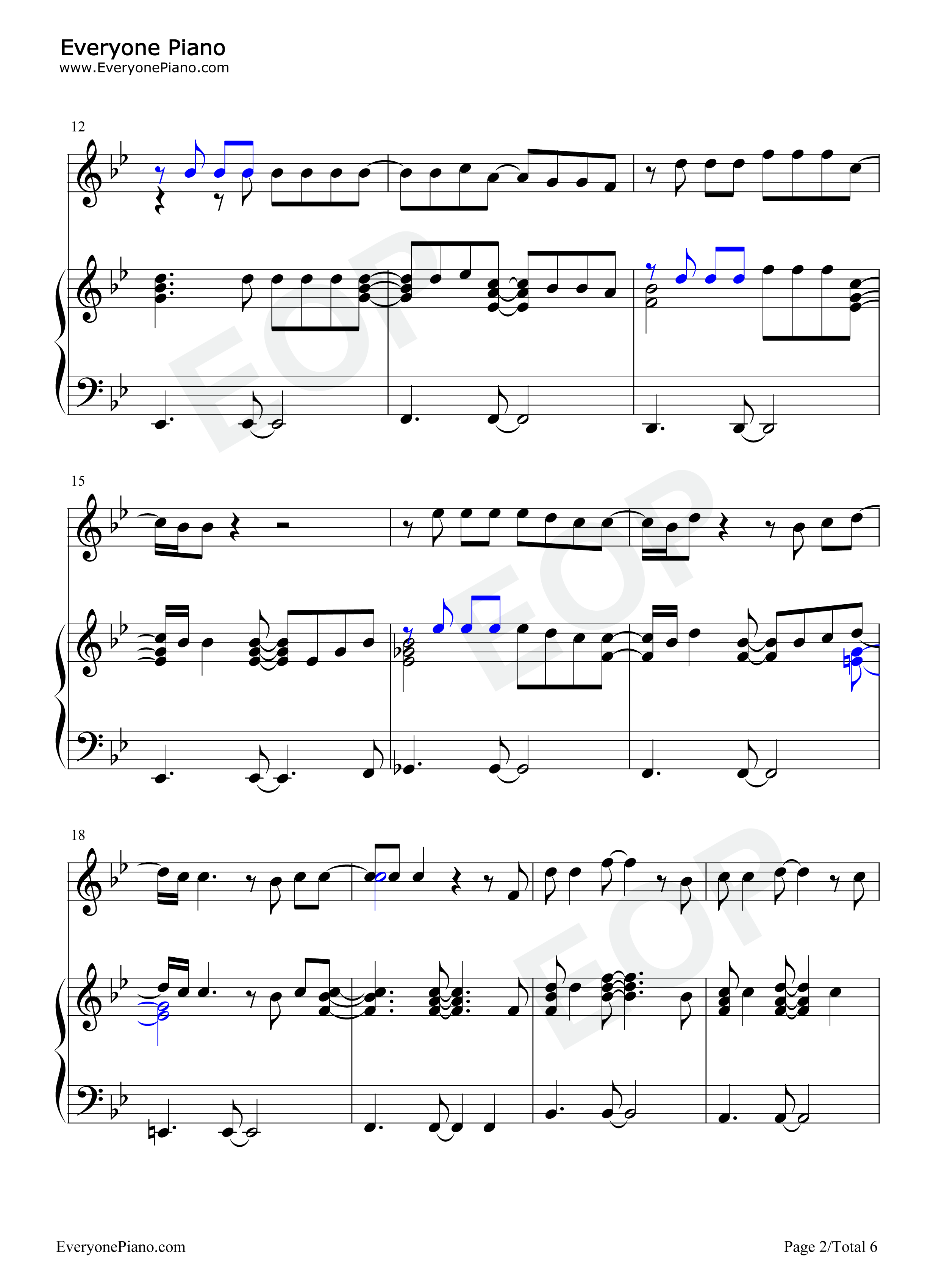 Dance with My Father-Luther Vandross Stave Preview 2-Free Piano Sheet Music u0026 Piano Chords