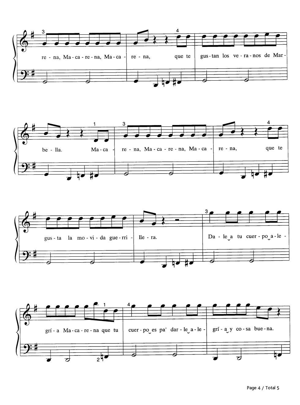 Macarena Sheet Music Blue Springs Marine