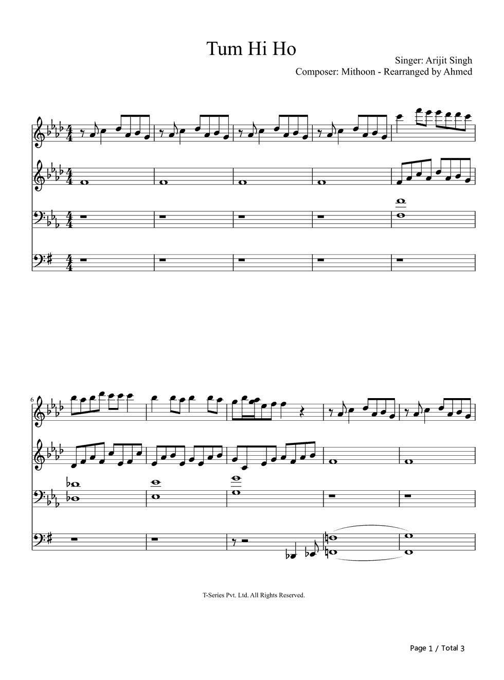 Tum Hi Ho-You Are the One Stave Preview 1-Free Piano Sheet Music u0026 Piano Chords