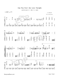Can You Feel the Love Tonight-The Lion King OST-Numbered-Musical-Notation-Preview-1