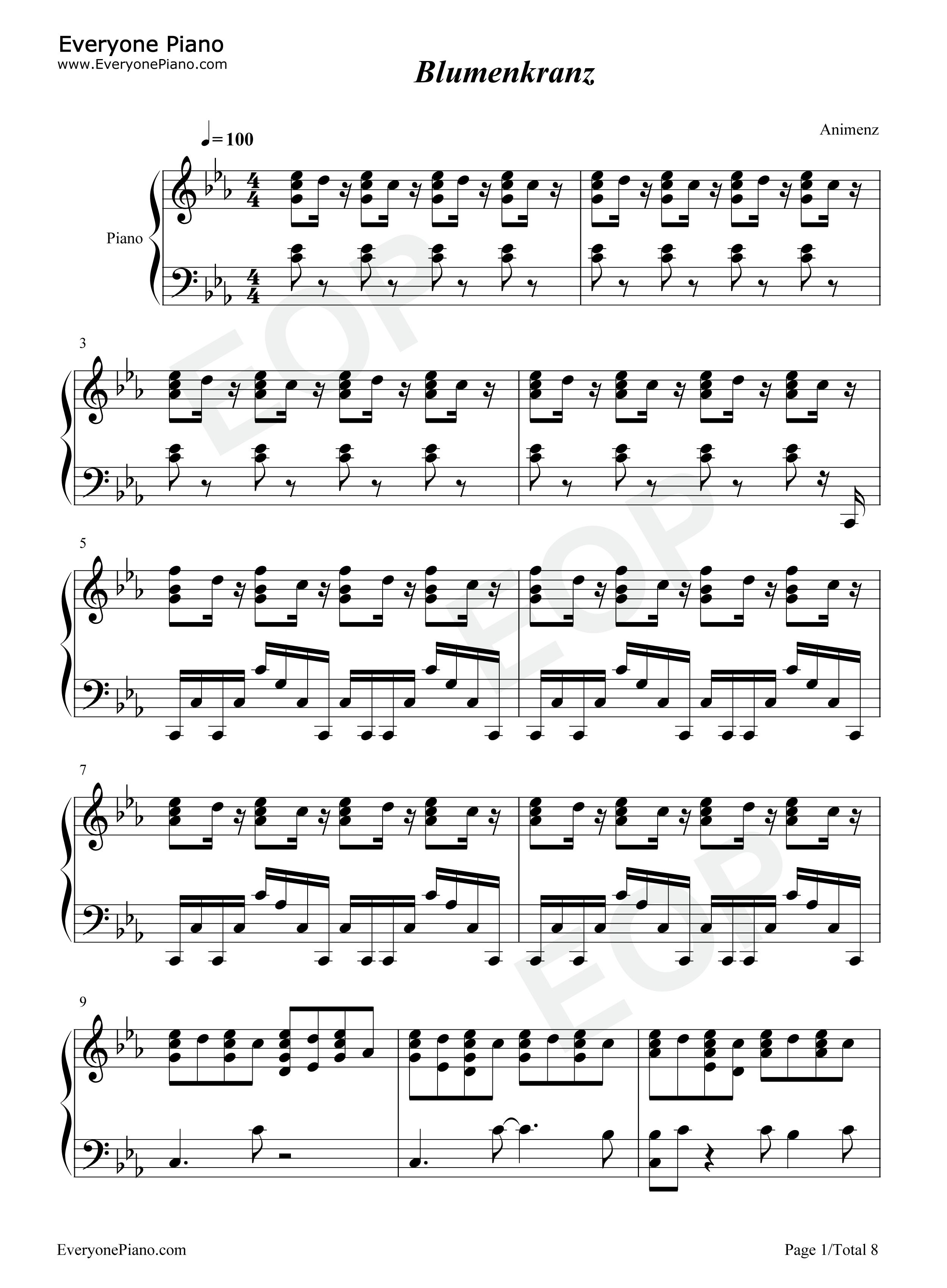 Blumenkranz kill la kill ost stave preview 1 free piano sheet music