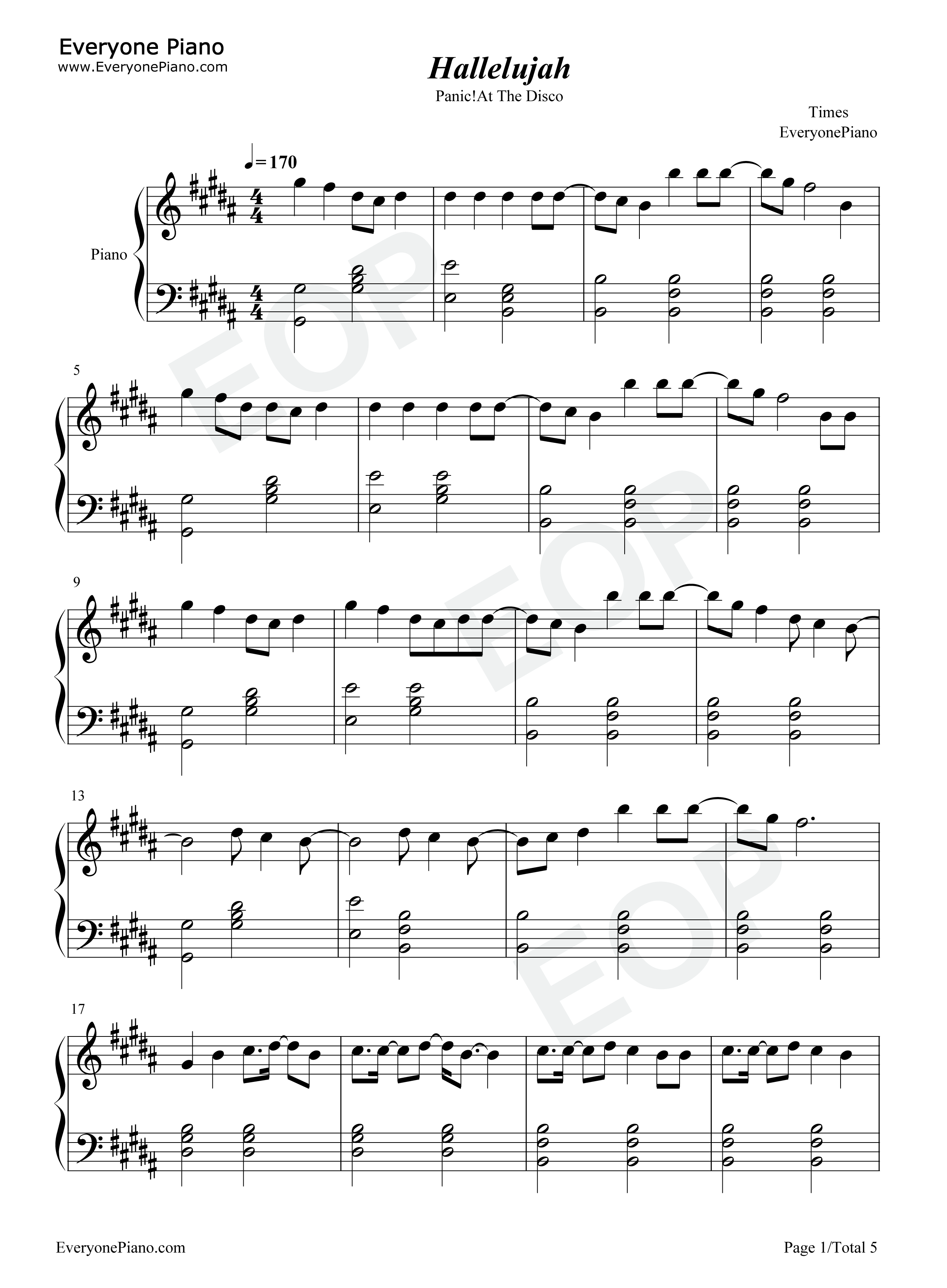 Hallelujah panic at the disco stave preview 1 free piano sheet listen now print sheet hallelujah panic at the disco stave preview 1 hexwebz Gallery