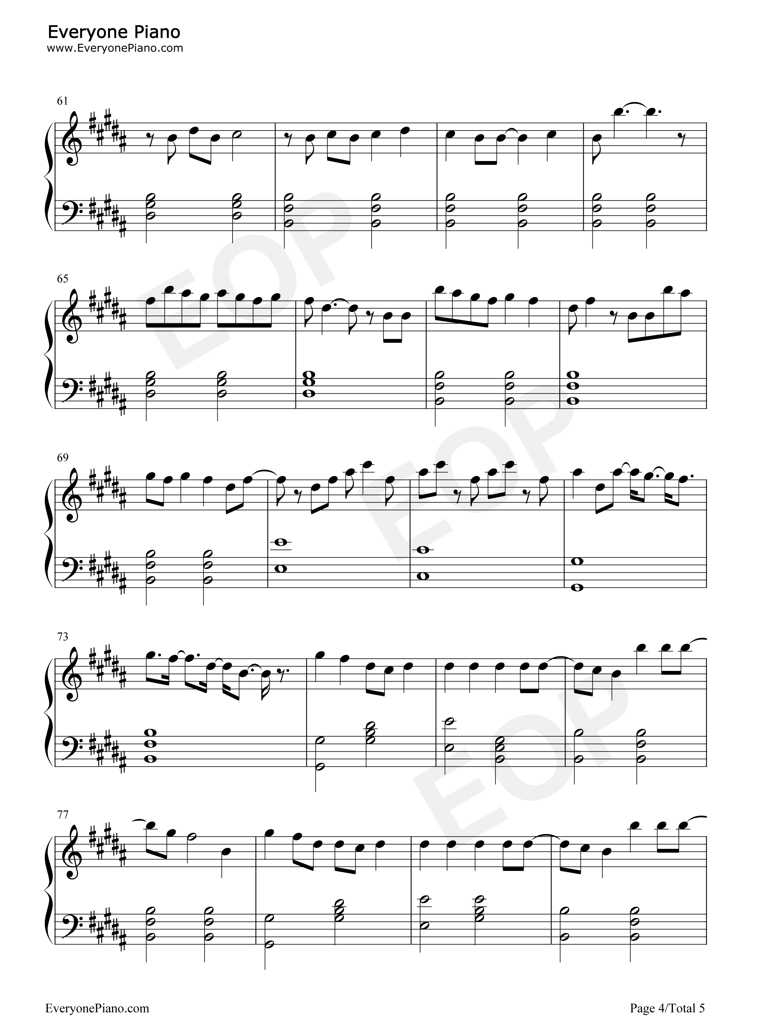 Hallelujah-Panic! at the Disco Stave Preview 4- Free Piano Sheet Music u0026 Piano Chords
