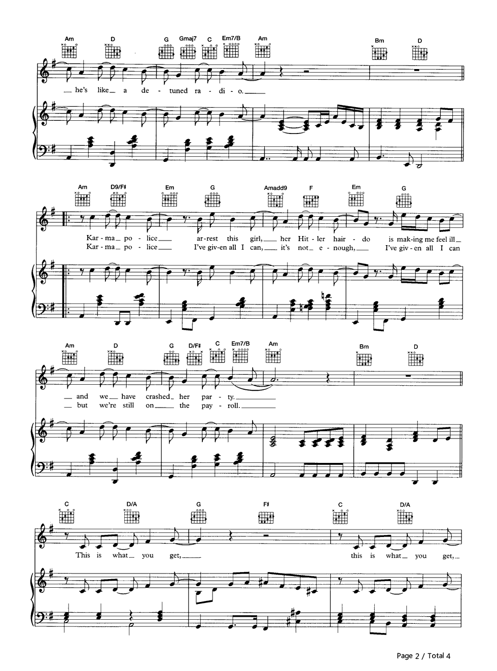 Karma Police-Radiohead Stave Preview 2-Free Piano Sheet Music u0026 Piano Chords
