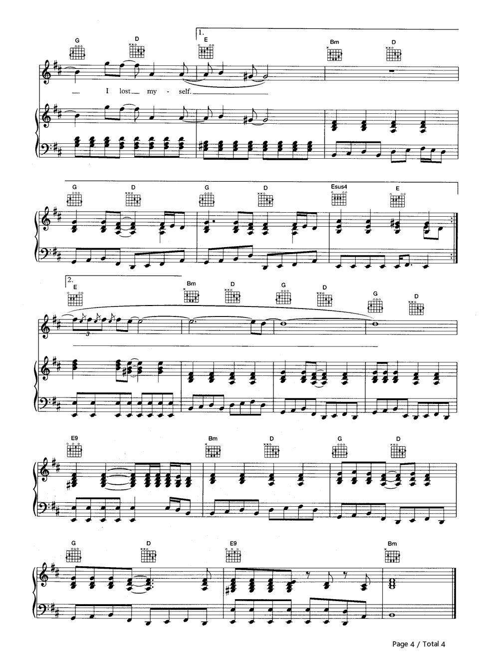 Karma Police-Radiohead Stave Preview 4-Free Piano Sheet Music u0026 Piano Chords