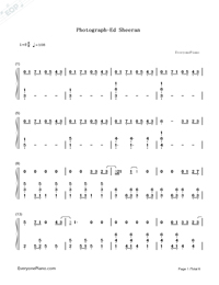 Photograph-Ed Sheeran-Numbered-Musical-Notation-Preview-1