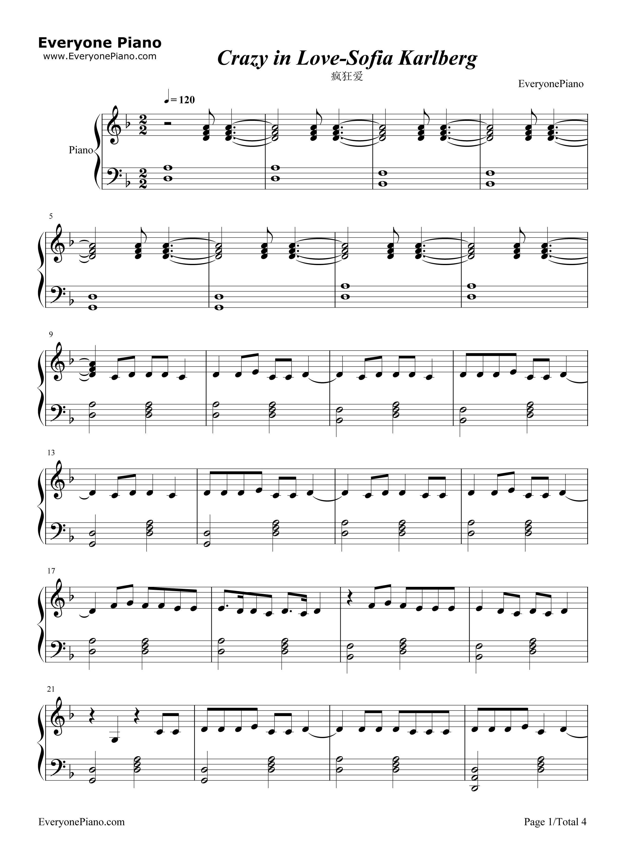 Sofia karlberg stave preview 1 free piano sheet music amp piano chords