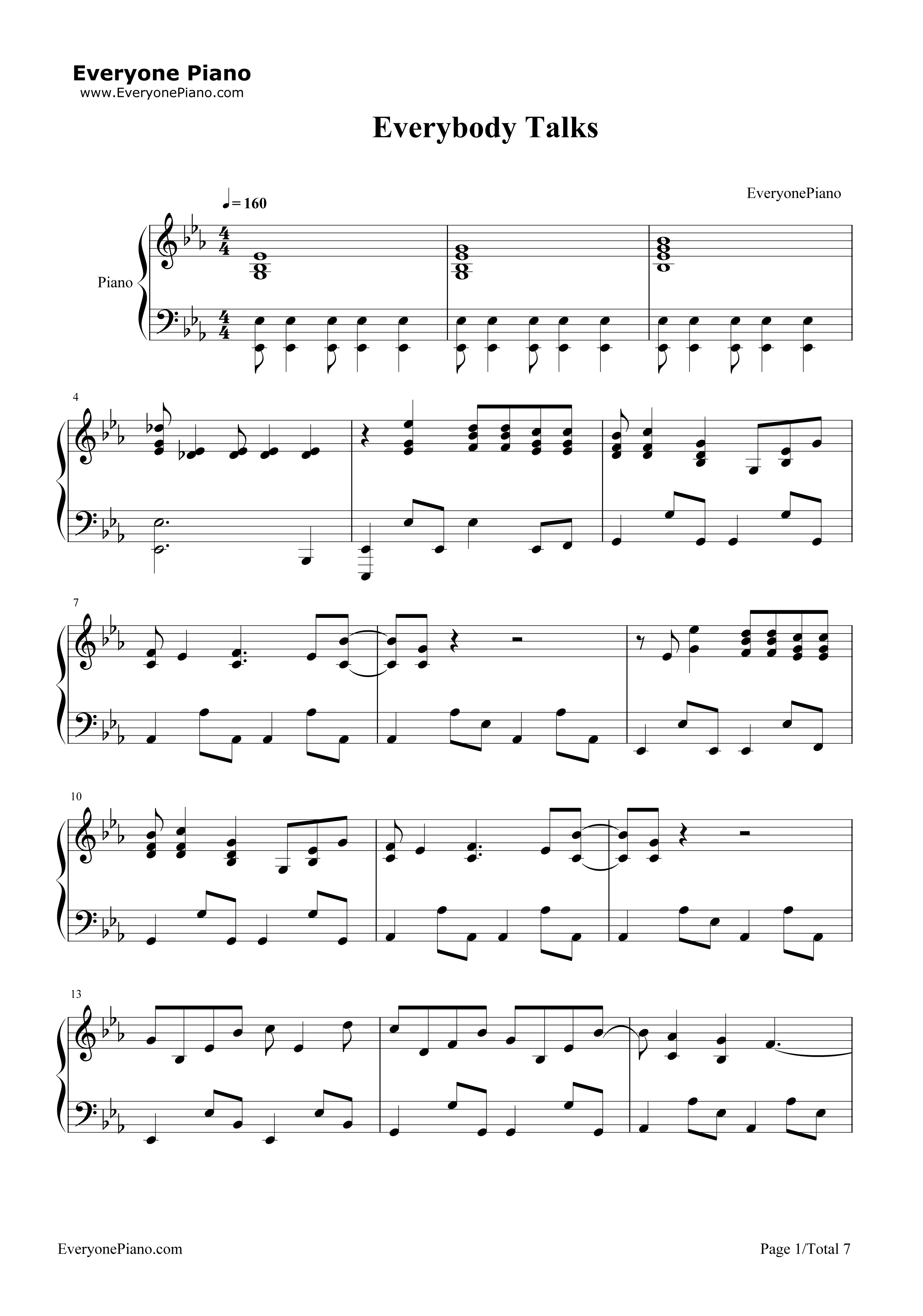 Everybody talks neon trees stave preview 1 free piano sheet music listen now print sheet everybody talks neon trees stave preview 1 hexwebz Image collections
