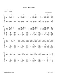 Makes Me Wonder-Maroon 5-Numbered-Musical-Notation-Preview-1