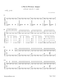 A World Without Danger-Un Monde Sans Danger-Numbered-Musical-Notation-Preview-1