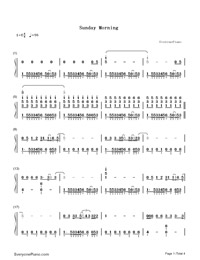 Sunday Morning-Maroon 5-Numbered-Musical-Notation-Preview-1