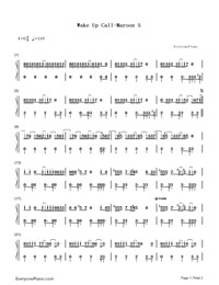 Wake Up Call-Maroon 5-Numbered-Musical-Notation-Preview-1