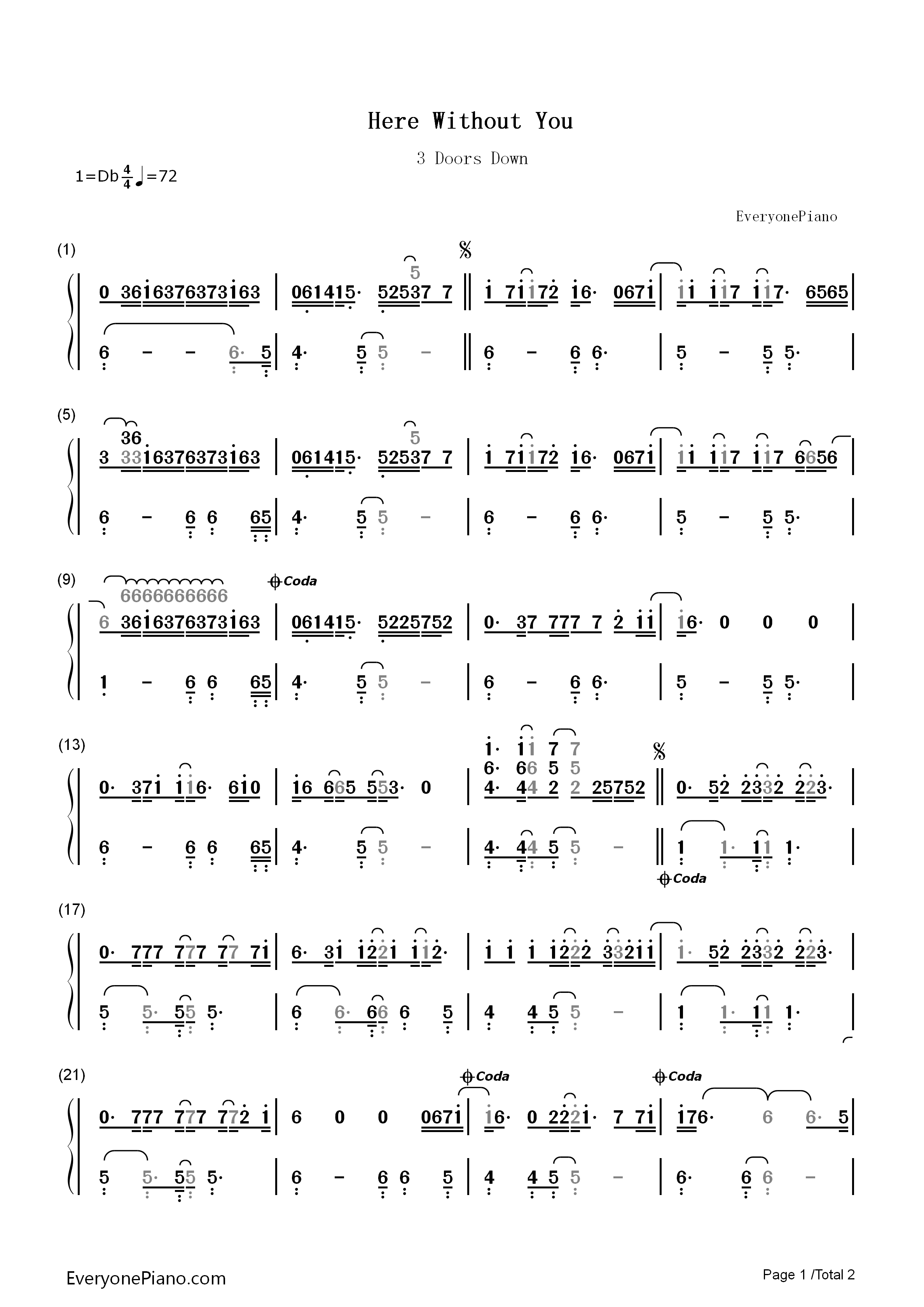 Here without you 3 doors down numbered musical notation preview 1 listen now print sheet here without you 3 doors down numbered musical notation preview 1 hexwebz Image collections