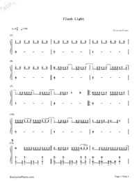 Flashlight-Pitch Perfect 2 OST-Numbered-Musical-Notation-Preview-1