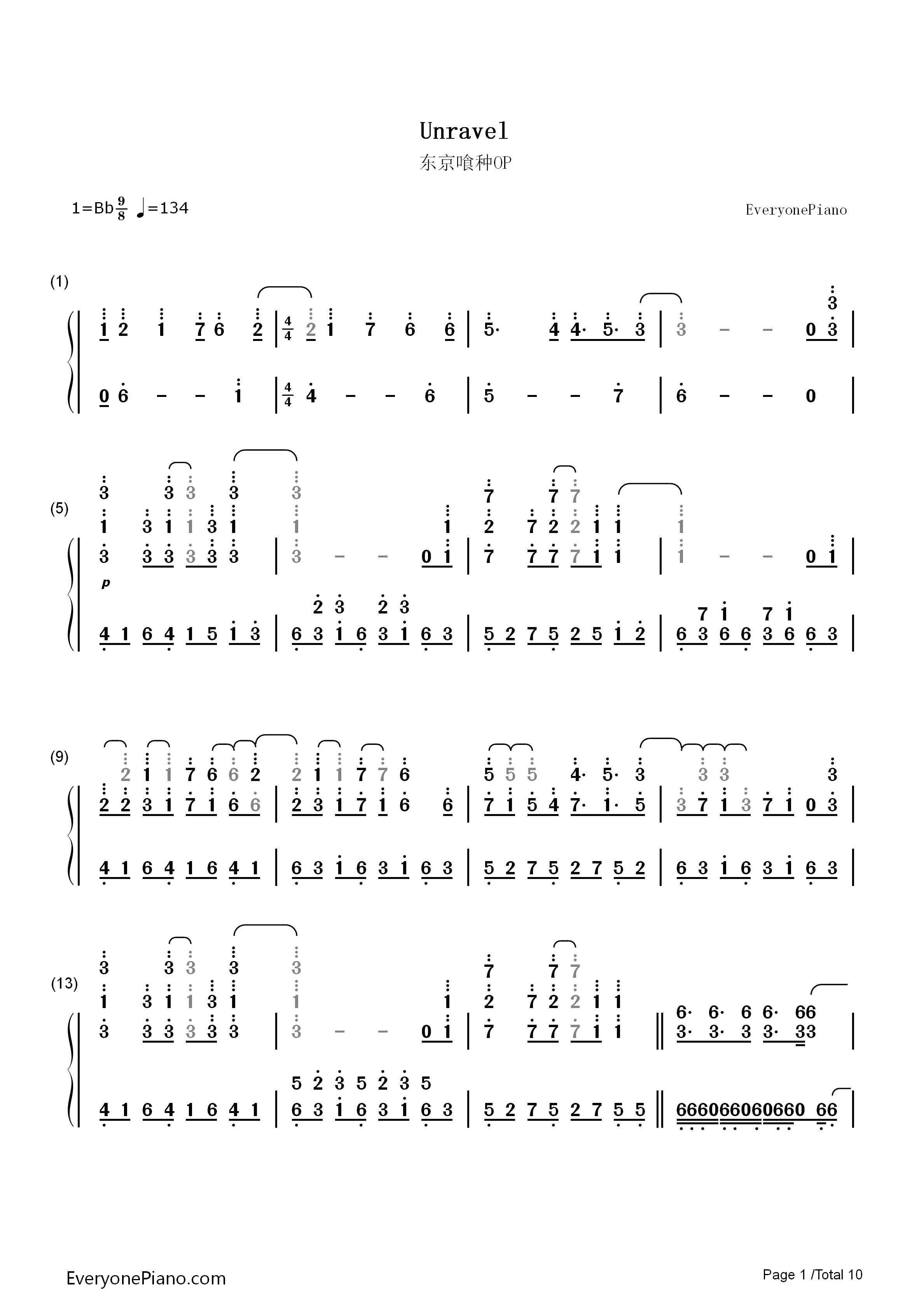 Unravel-Tokyo Ghoul Theme Numbered Musical Notation Preview 1-Free Piano Sheet Music u0026 Piano Chords