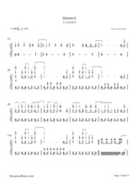 Unravel-Tokyo Ghoul Theme-Numbered-Musical-Notation-Preview-1