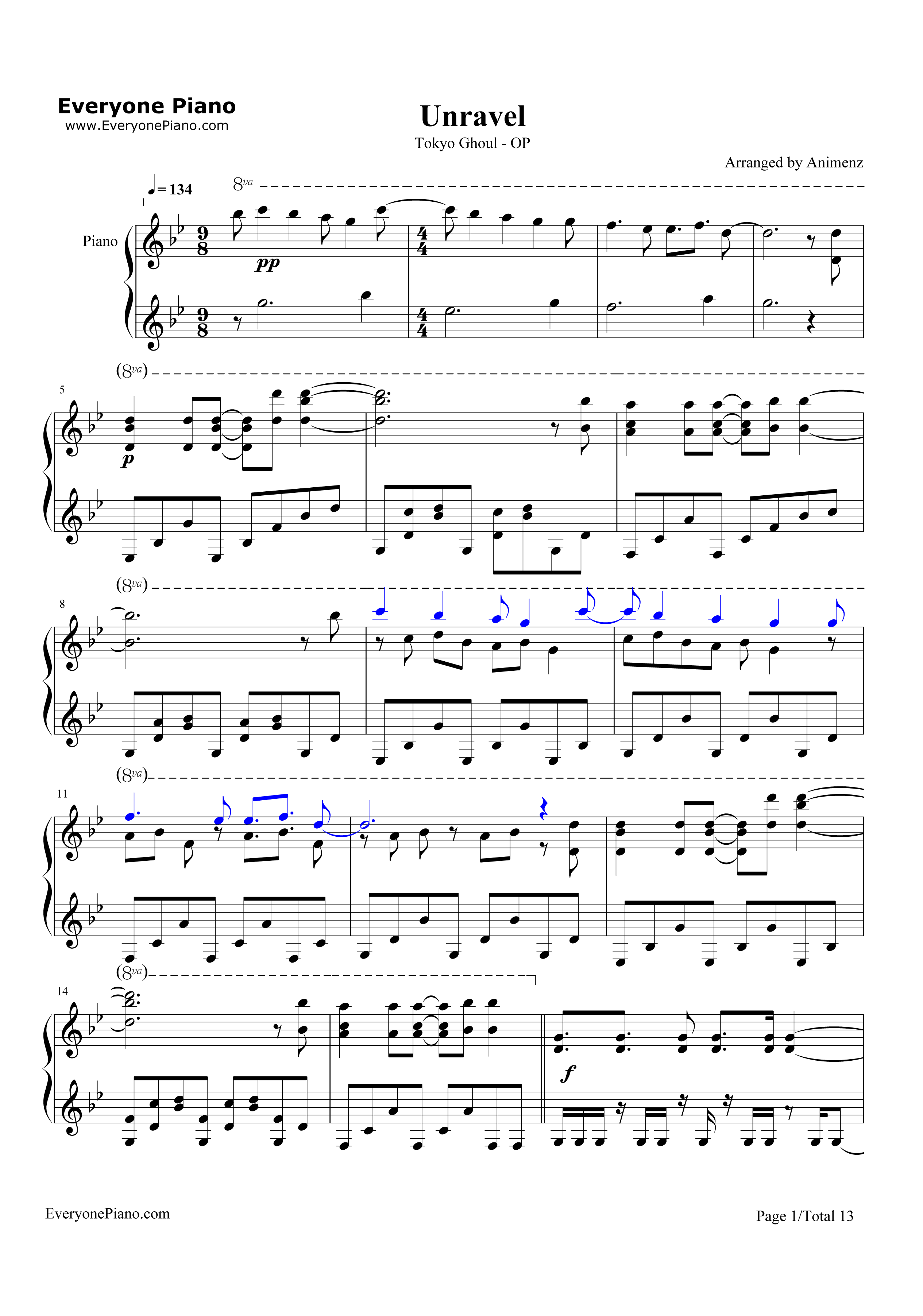 Unravel-Tokyo Ghoul Theme Stave Preview 1-Free Piano Sheet Music u0026 Piano Chords