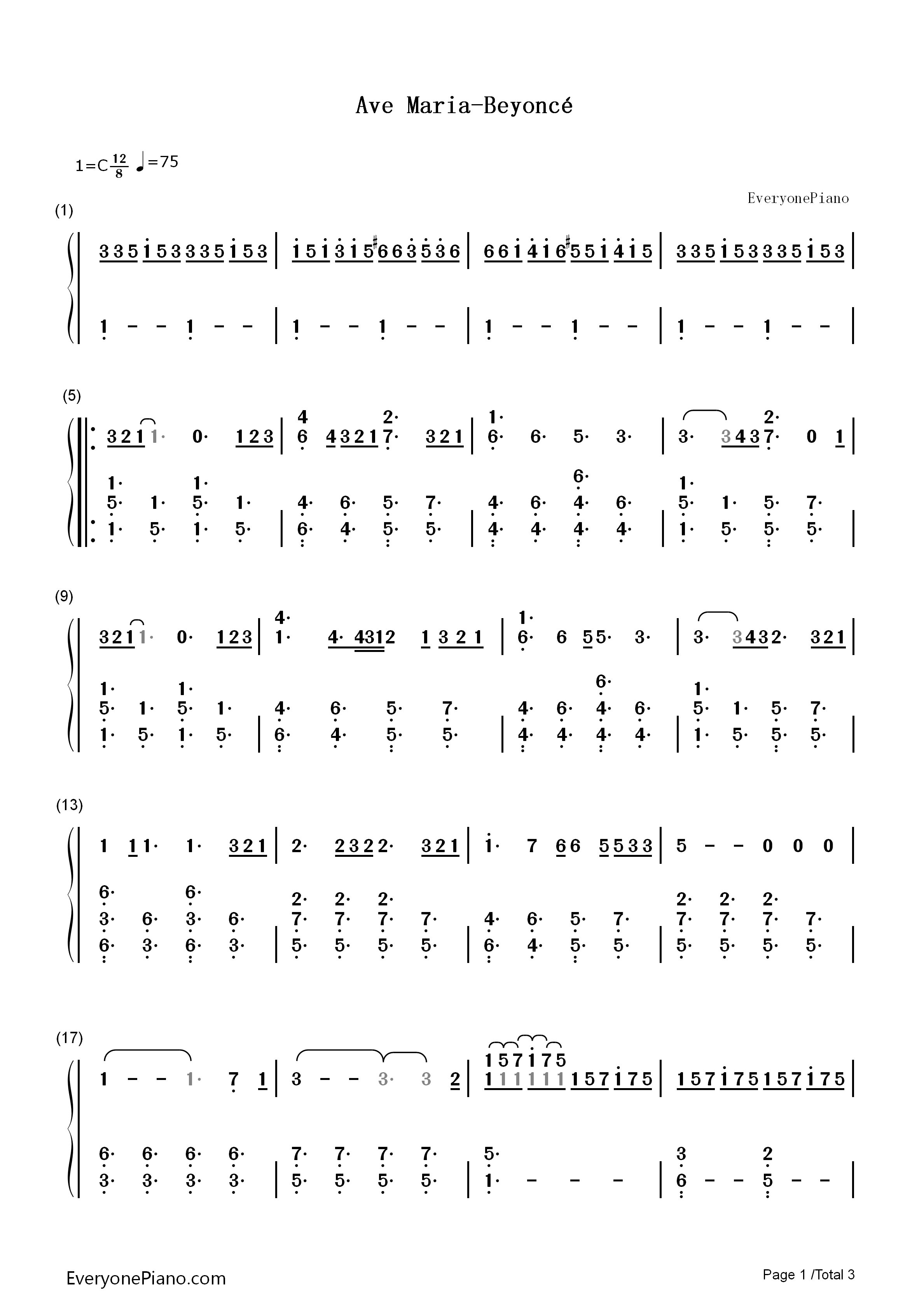 Ave Maria-Beyoncé Numbered Musical Notation Preview