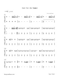 Cool for the Summer-Demi Lovato-Numbered-Musical-Notation-Preview-1