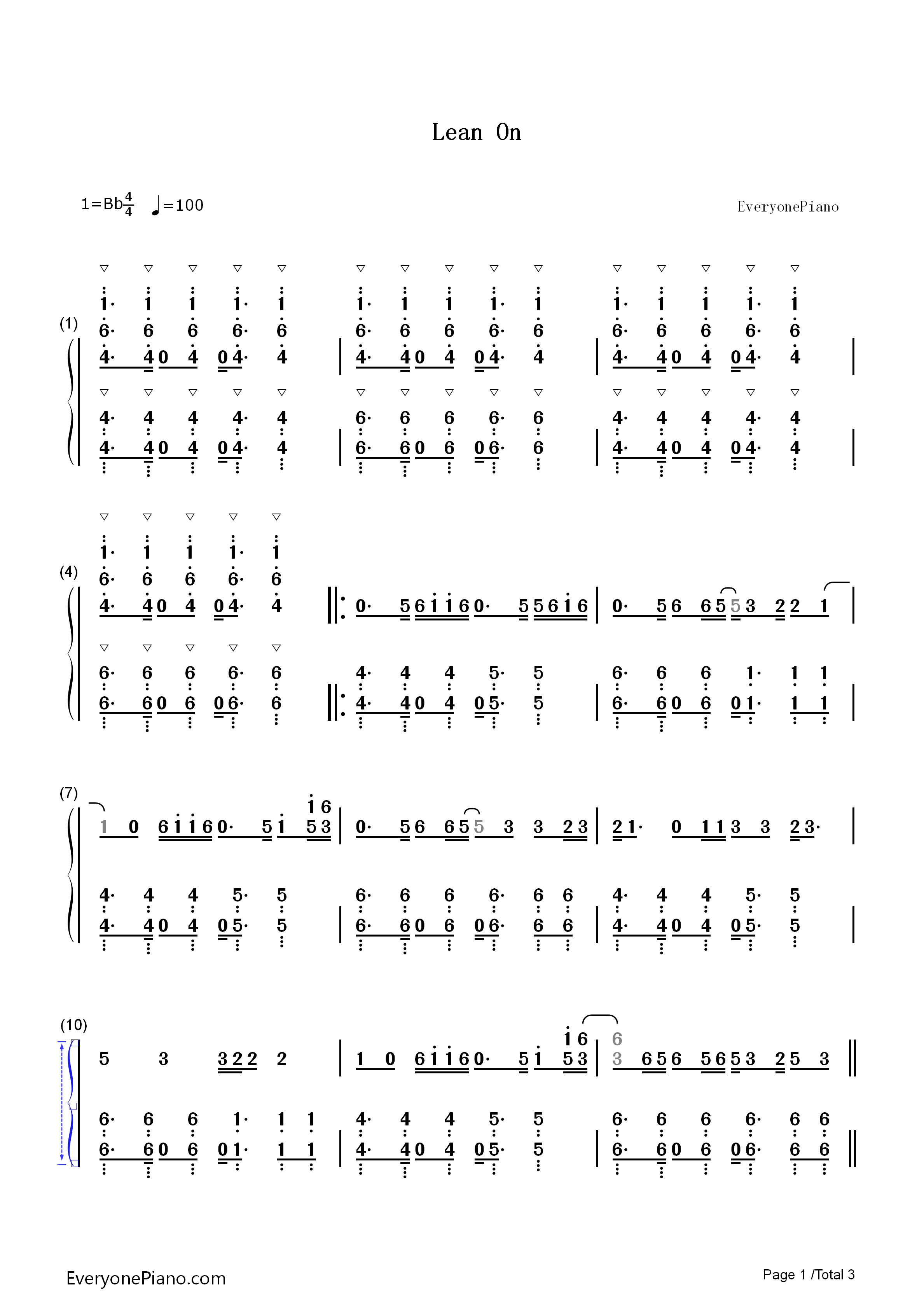 Lean On-Major Lazer Numbered Musical Notation Preview 1-Free Piano Sheet Music u0026 Piano Chords