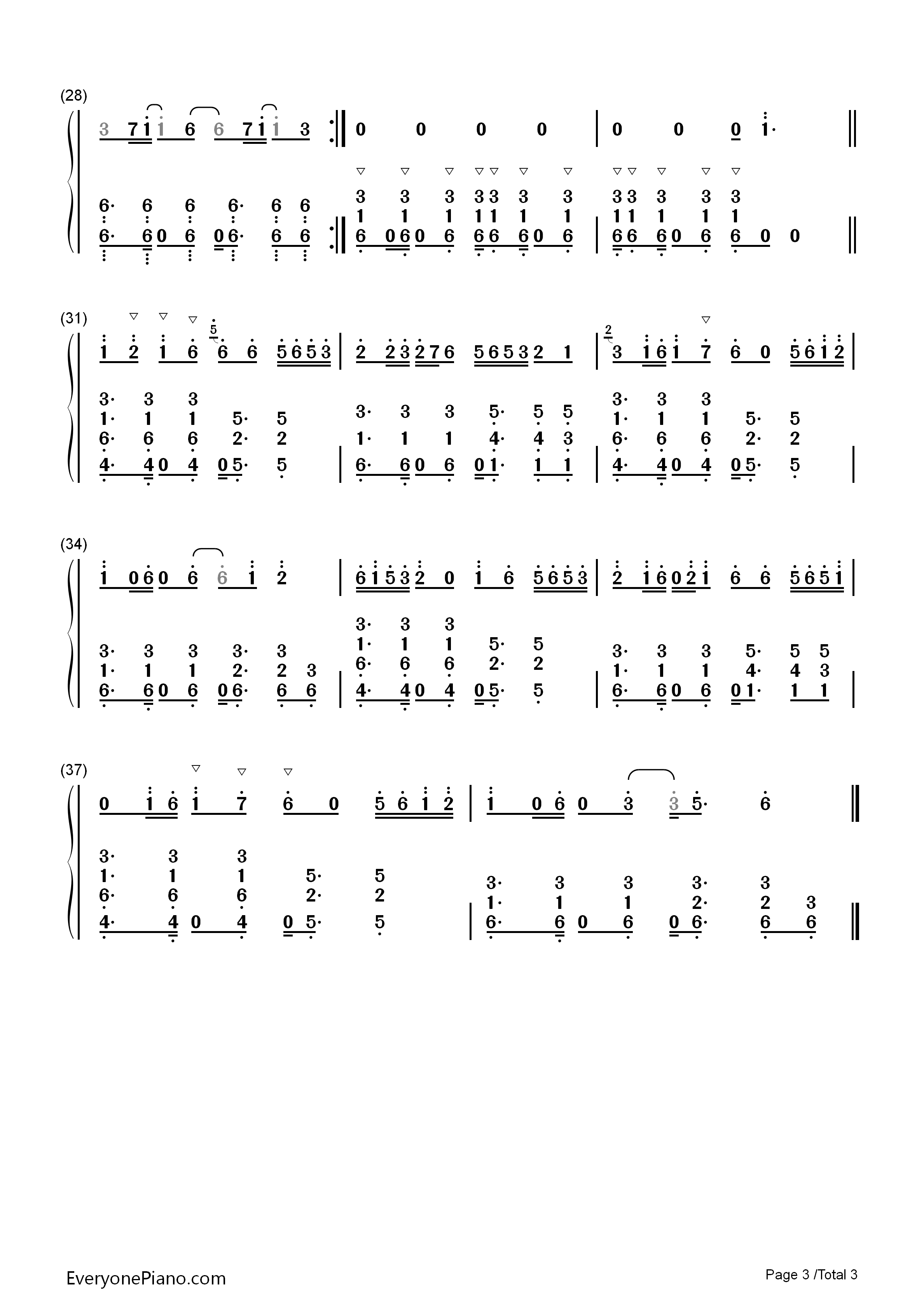 Lean On-Major Lazer Numbered Musical Notation Preview 3-Free Piano Sheet Music u0026 Piano Chords