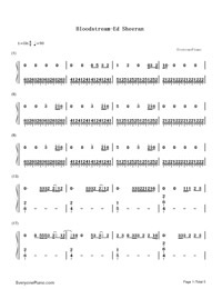 Bloodstream-Ed Sheeran-Numbered-Musical-Notation-Preview-1