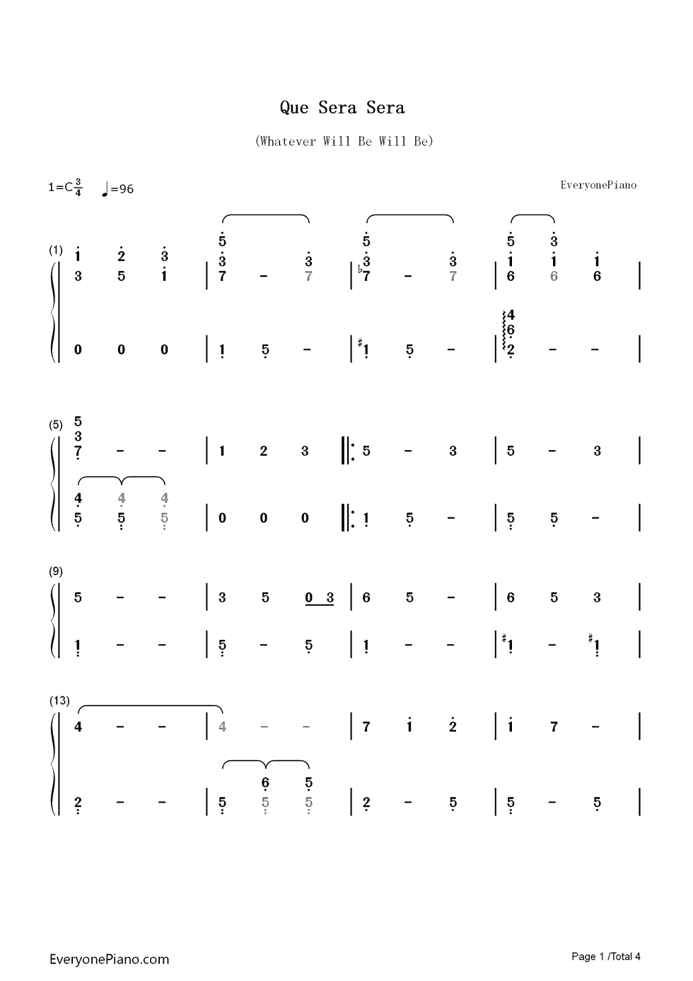 Que sera sera whatever will be will be numbered musical notation listen now print sheet que sera sera whatever will be will be numbered musical notation preview 1 hexwebz Image collections