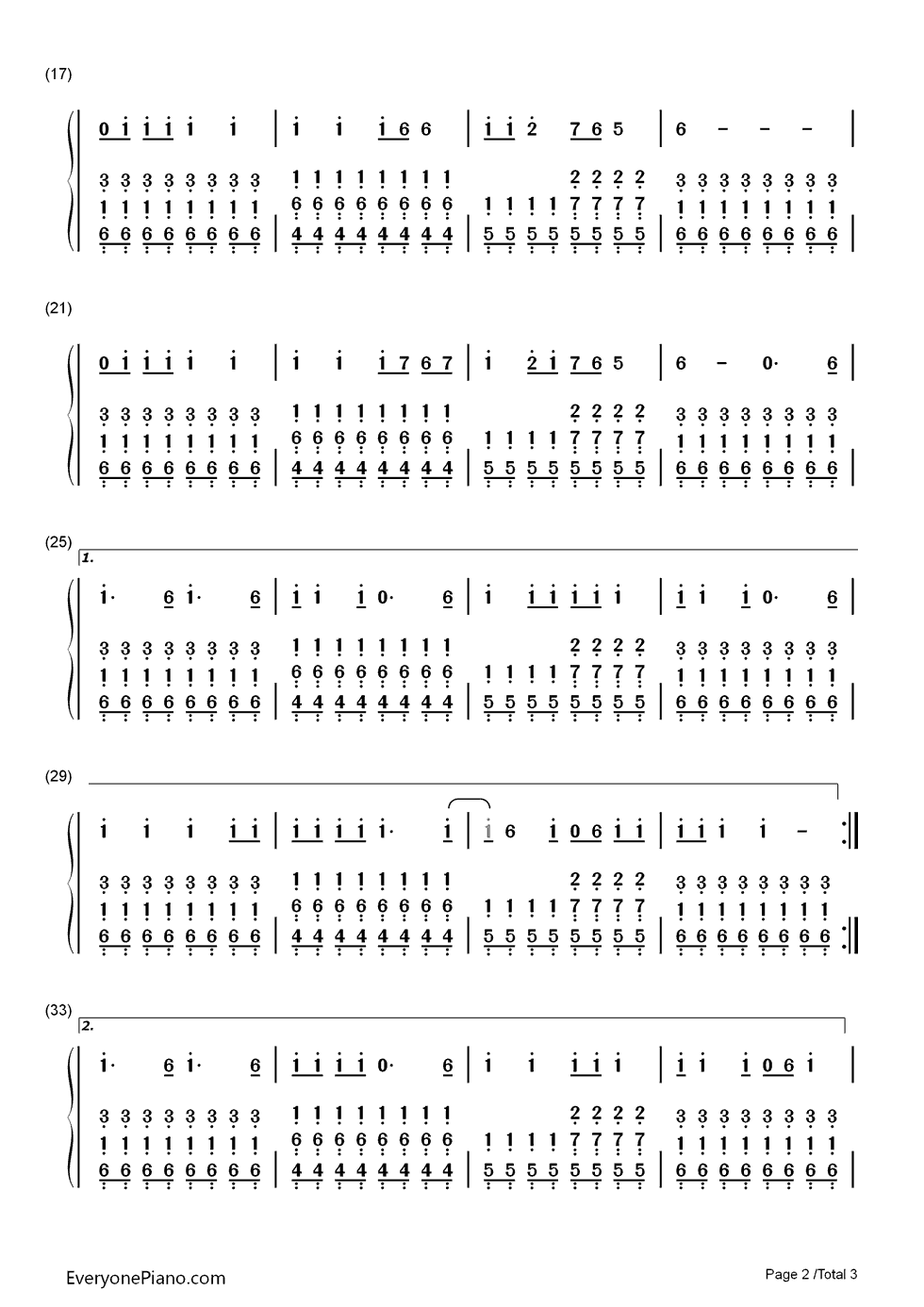Uma Thurman-Fall Out Boy Numbered Musical Notation Preview 2-Free Piano Sheet Music u0026 Piano Chords