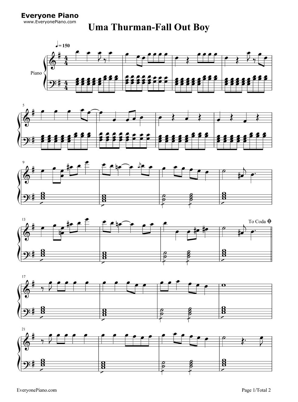 Uma Thurman-Fall Out Boy Stave Preview 1-Free Piano Sheet Music u0026 Piano Chords