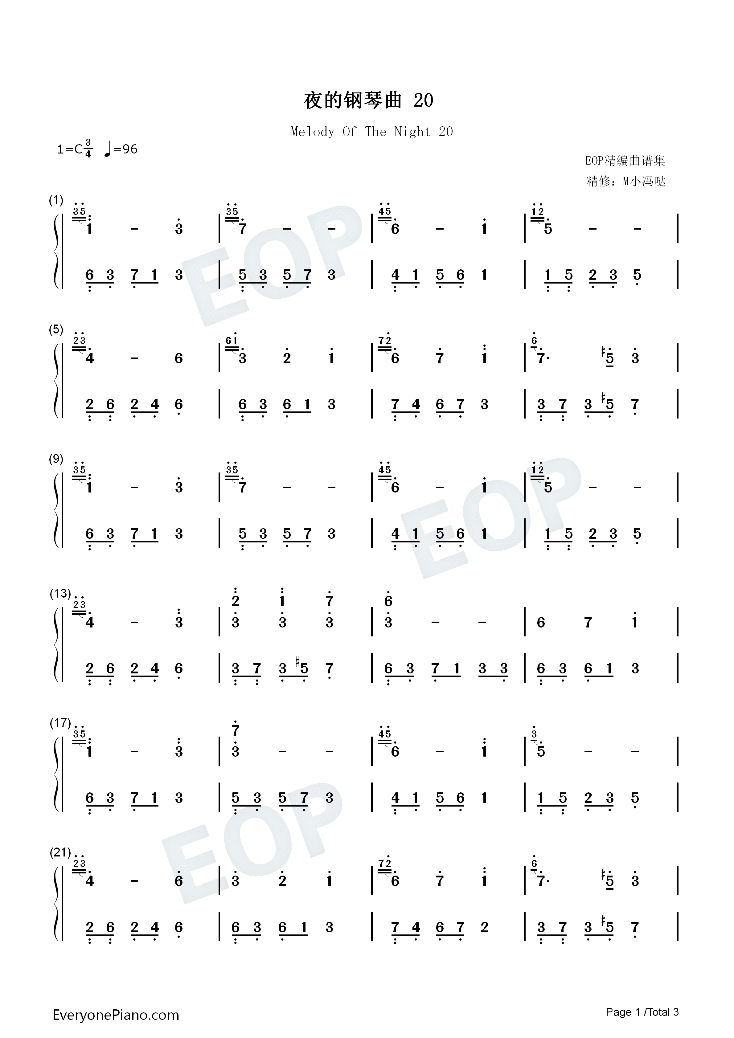 Melody Of The Night 20 Numbered Musical Notation Preview 1