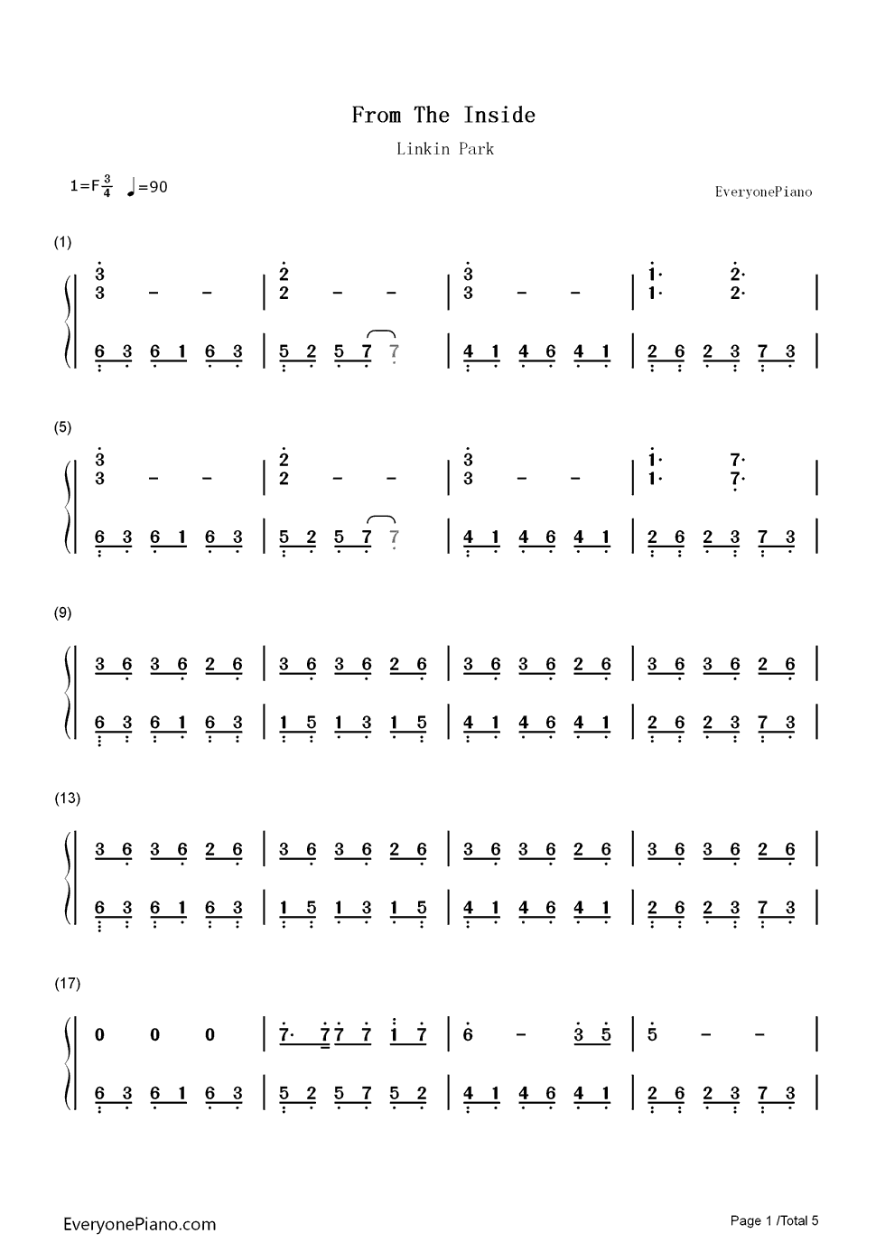 From the Inside-Linkin Park Numbered Musical Notation Preview
