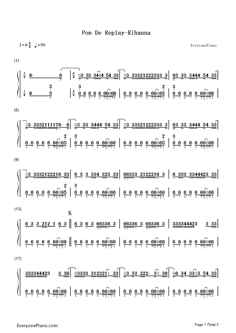 Pon de replay rihanna numbered musical notation preview 1 free listen now print sheet pon de replay rihanna numbered musical notation preview 1 hexwebz Image collections