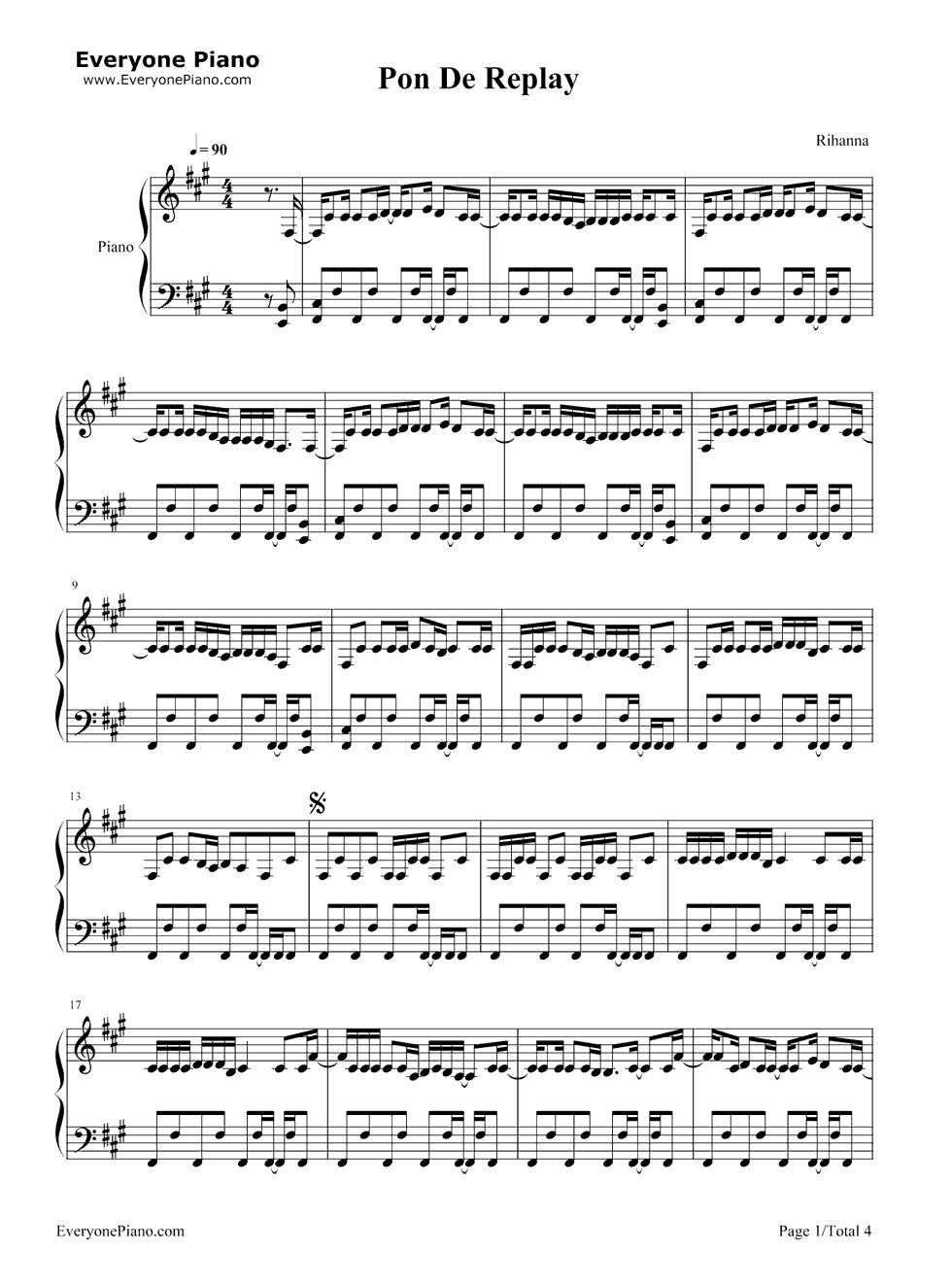 Pon de replay rihanna stave preview 1 free piano sheet music listen now print sheet pon de replay rihanna stave preview 1 hexwebz Image collections