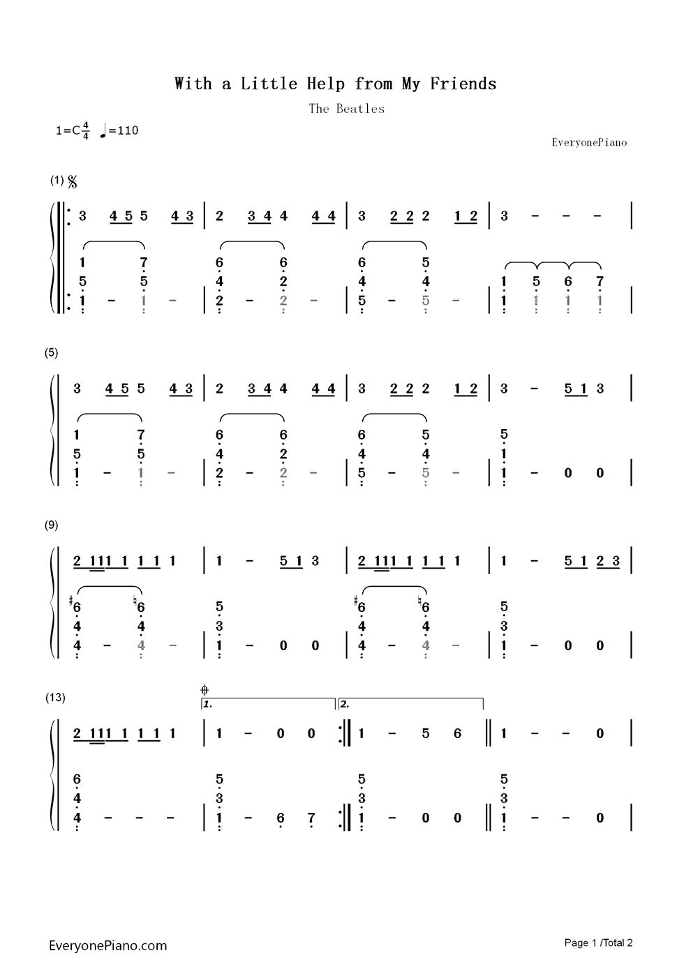 With a little help from my friends the beatles numbered musical listen now print sheet with a little help from my friends the beatles numbered musical notation preview 1 hexwebz Choice Image