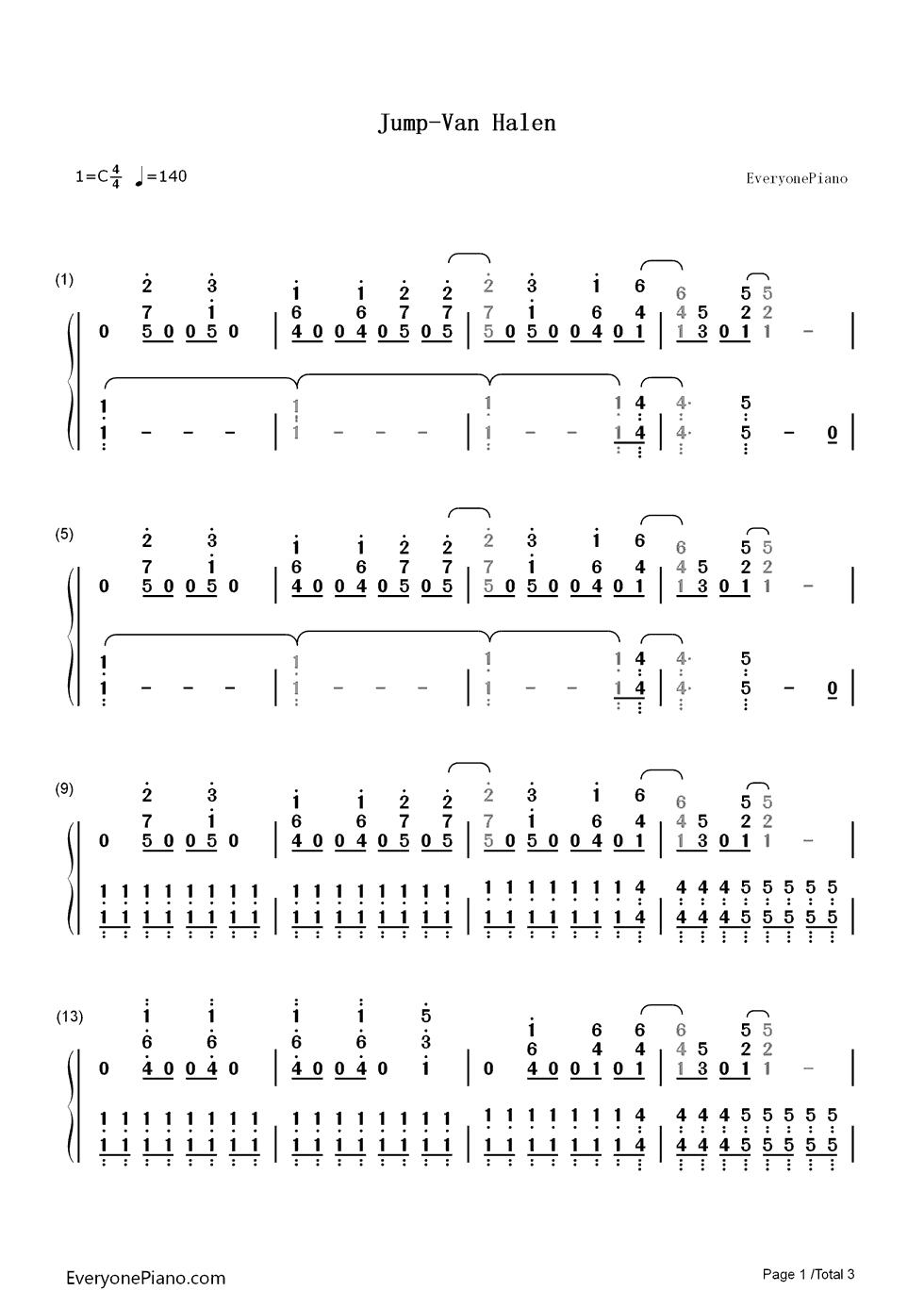 Jump Van Halen Numbered Musical Notation Preview