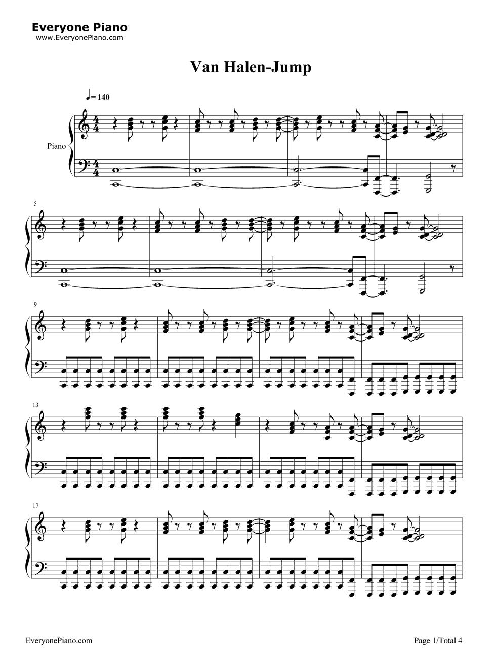 Jump van halen stave preview 1 free piano sheet music piano chords listen now print sheet jump van halen stave preview 1 hexwebz Choice Image