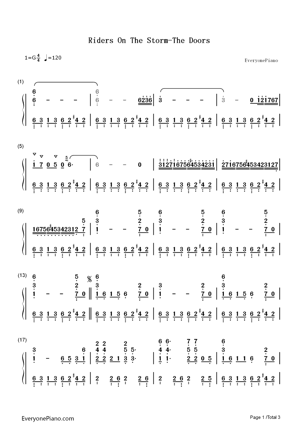 Riders On The Storm The Doors Numbered Musical Notation Preview