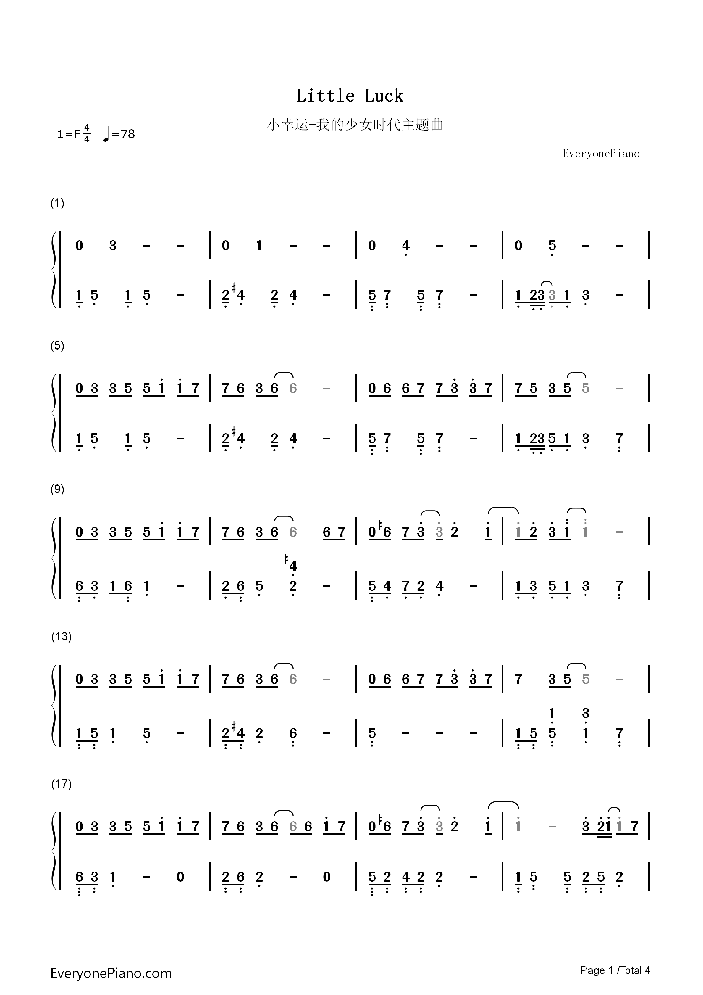 Little Luck-Our Times Theme Numbered Musical Notation Preview 1