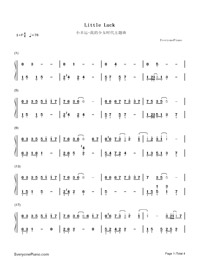 Little Luck-Our Times Theme-Numbered-Musical-Notation-Preview-1