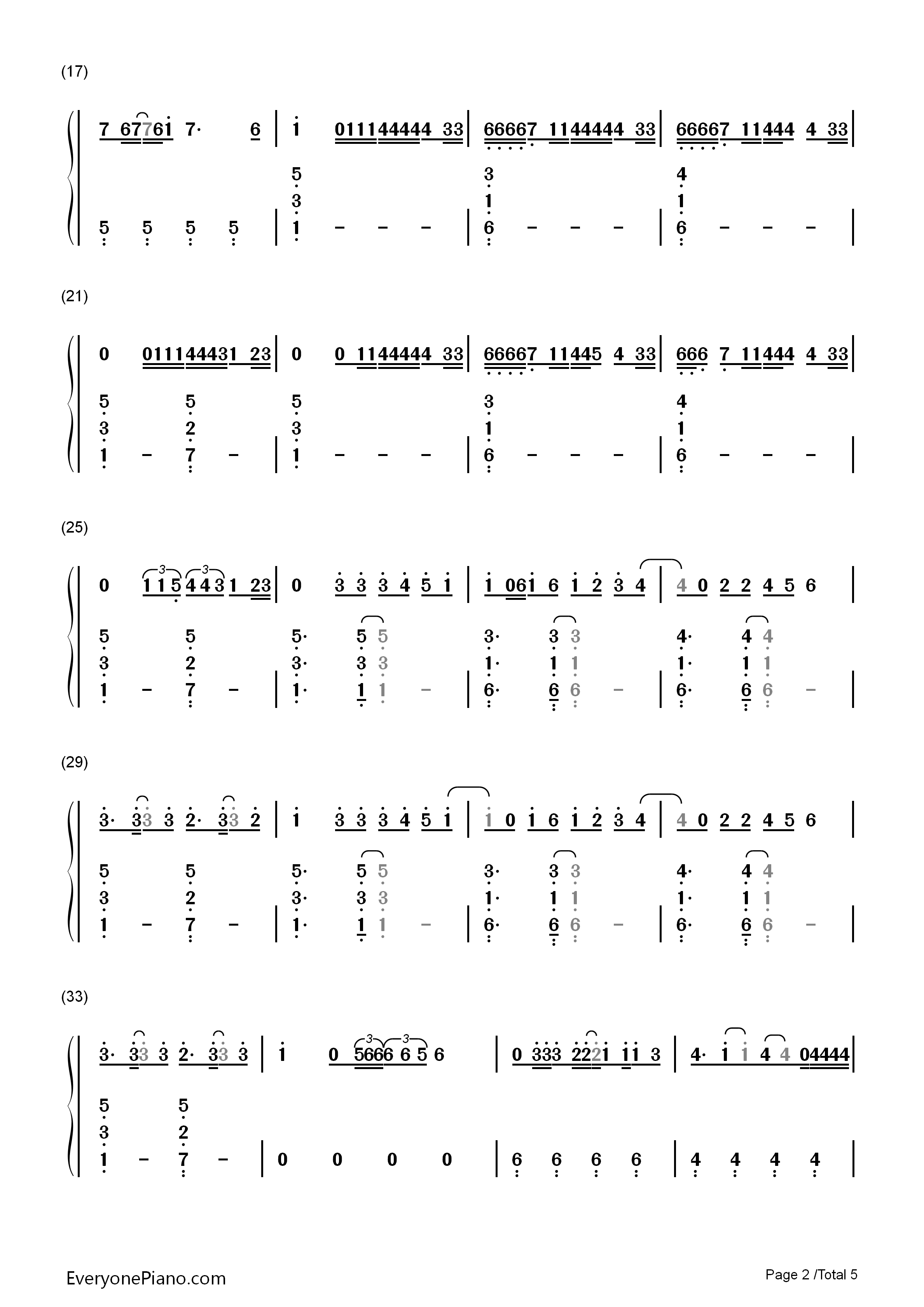Locked Away-R. City Numbered Musical Notation Preview 2- Free Piano Sheet Music u0026 Piano Chords