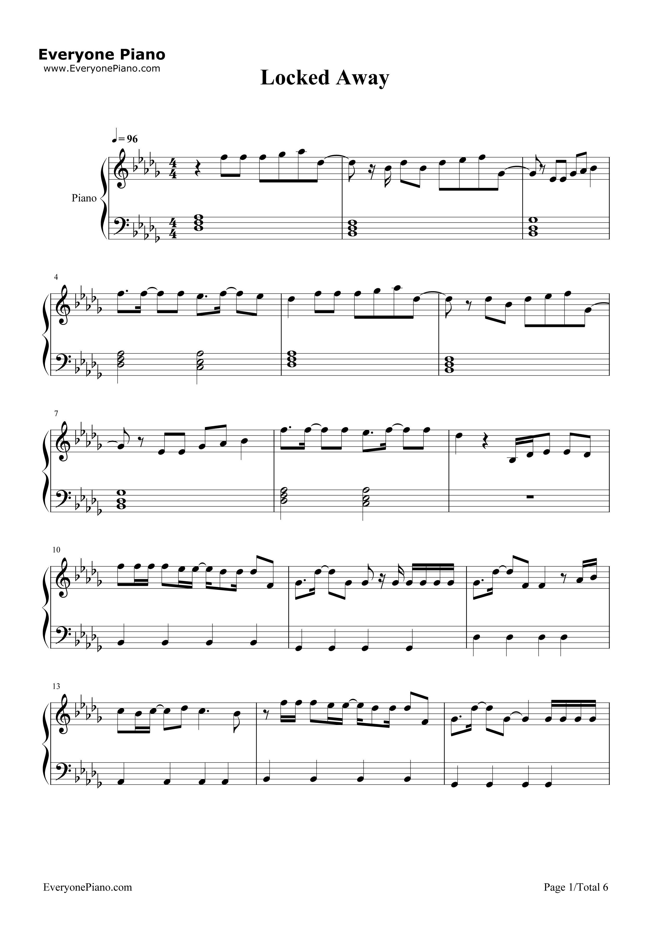 Locked Away-R. City Stave Preview 1-Free Piano Sheet Music u0026 Piano Chords
