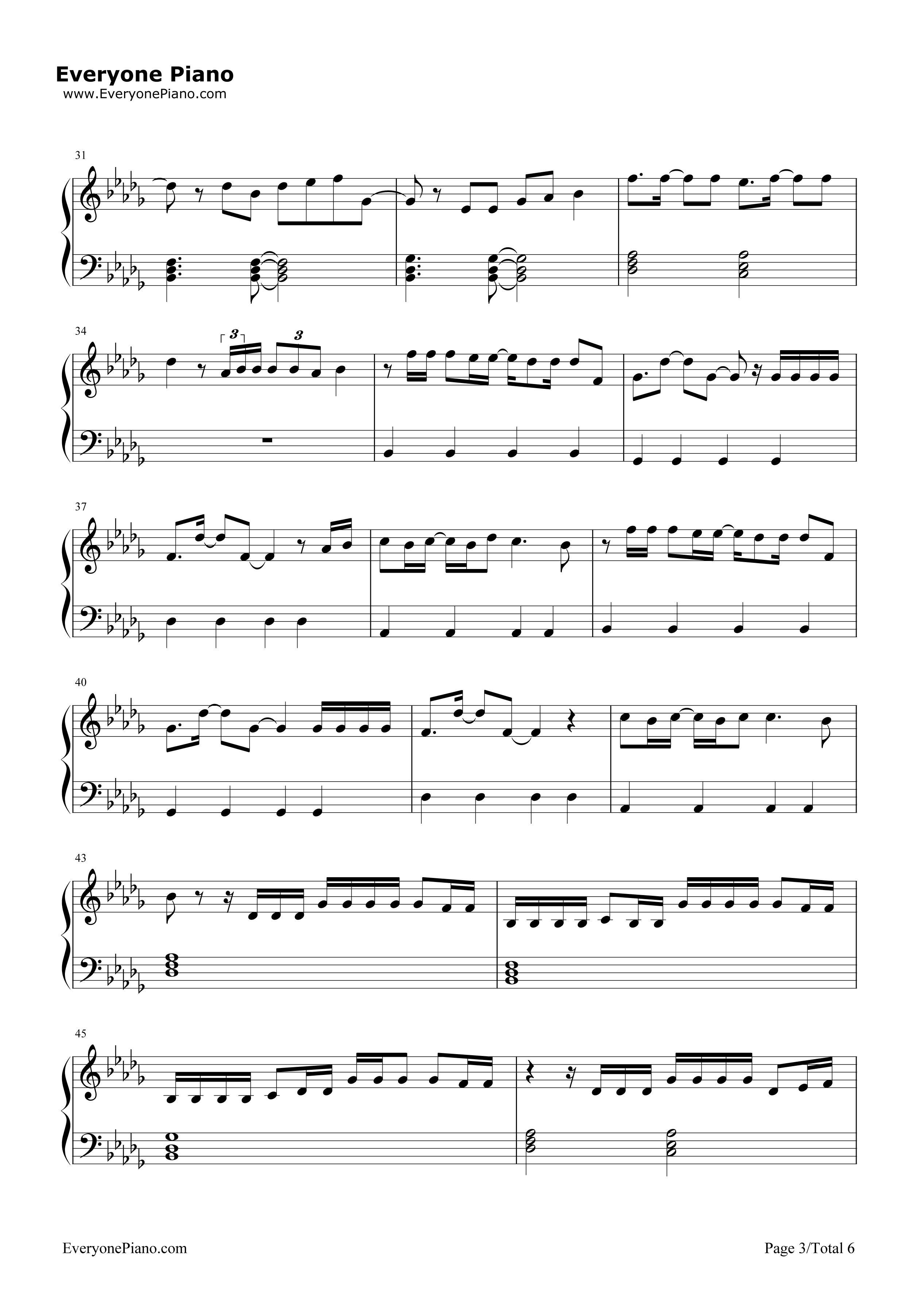 Locked Away-R. City Stave Preview 3-Free Piano Sheet Music u0026 Piano Chords