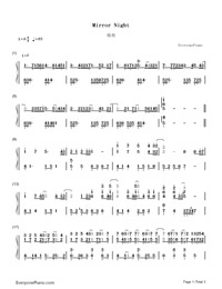 Mirror Night-Reflection (Mirror Night)-Numbered-Musical-Notation-Preview-1