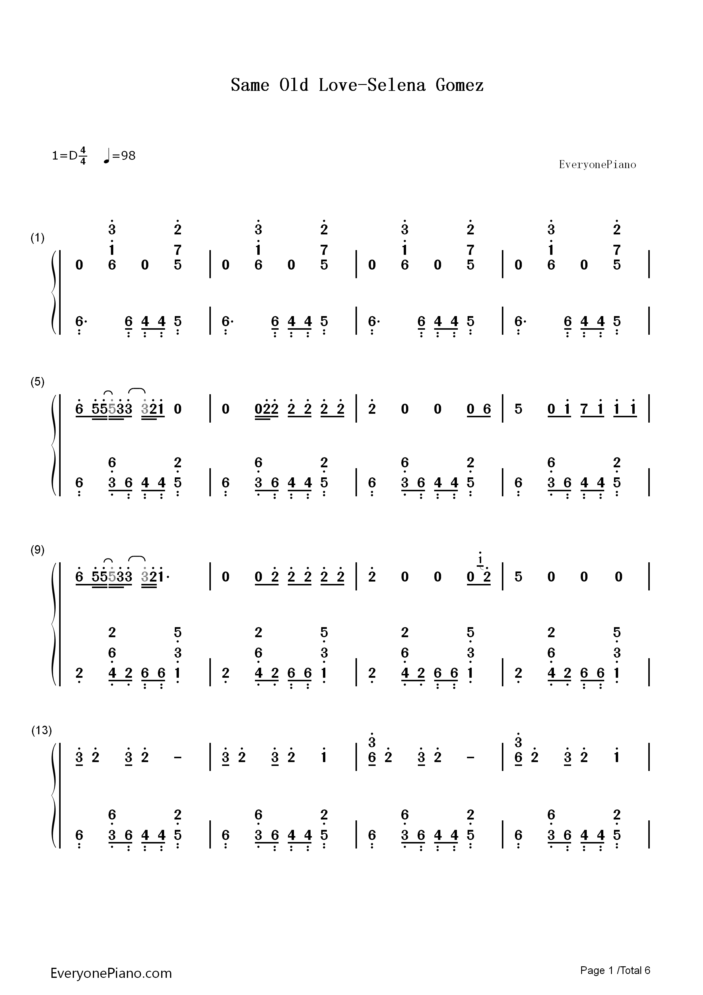 Same Old Love Chords   Sheet and Chords Collection