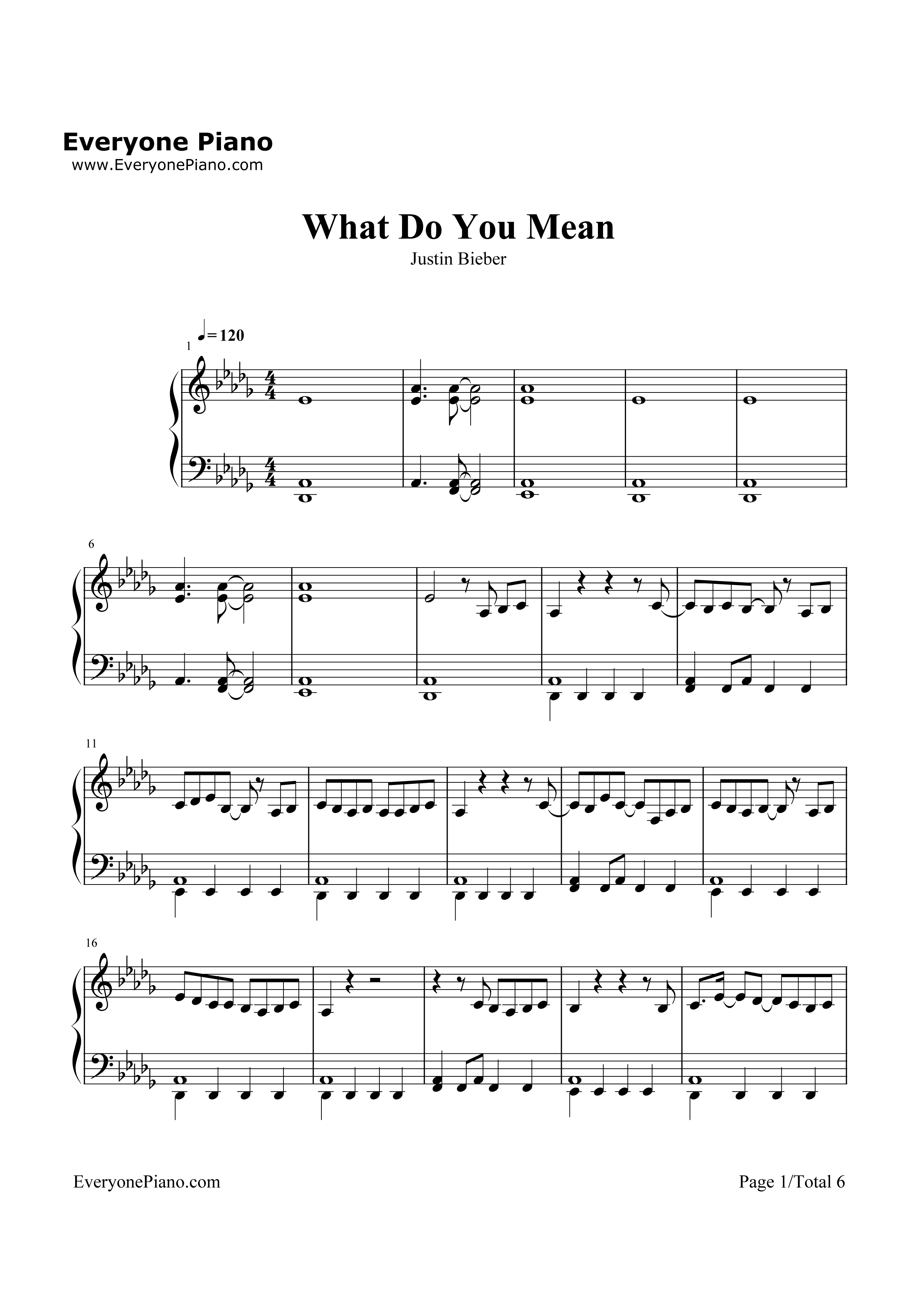 What Do You Mean-Justin Bieber Stave Preview 1-Free Piano Sheet Music u0026 Piano Chords