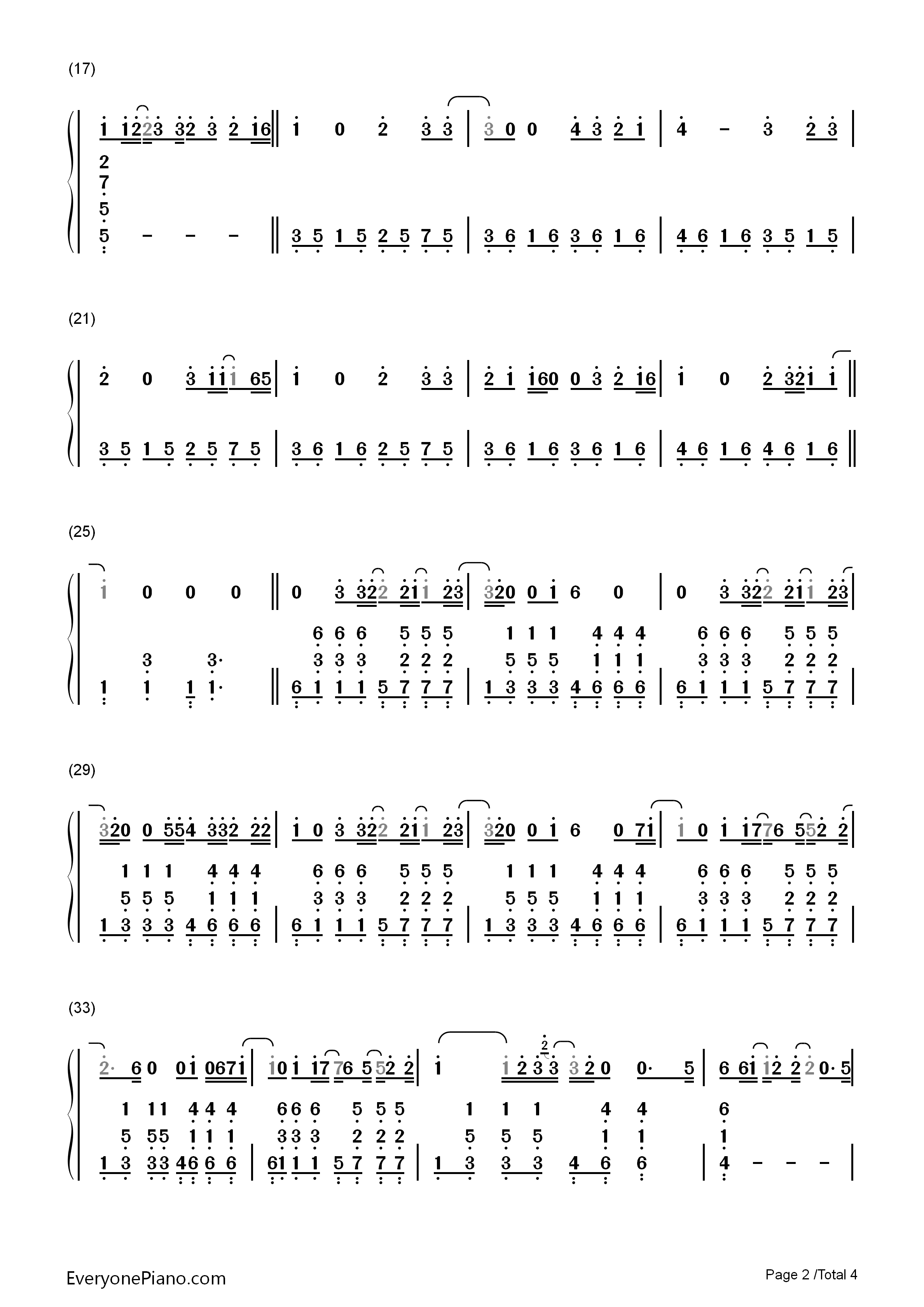 One Call Away-Charlie Puth Numbered Musical Notation Preview 2-Free Piano Sheet Music u0026 Piano Chords