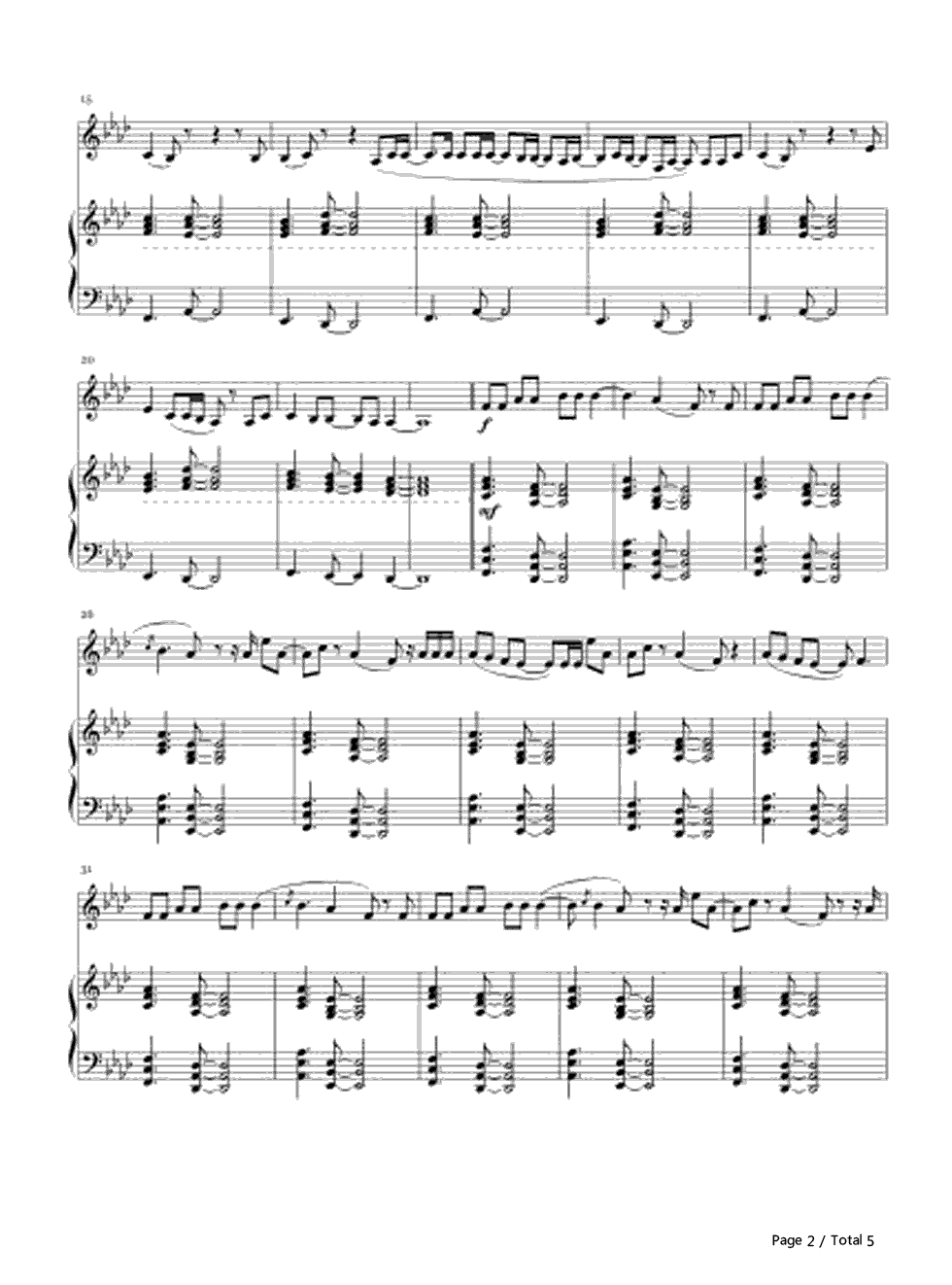 Hello-Voice and Piano-Adele Stave Preview 2-Free Piano Sheet Music u0026 Piano Chords