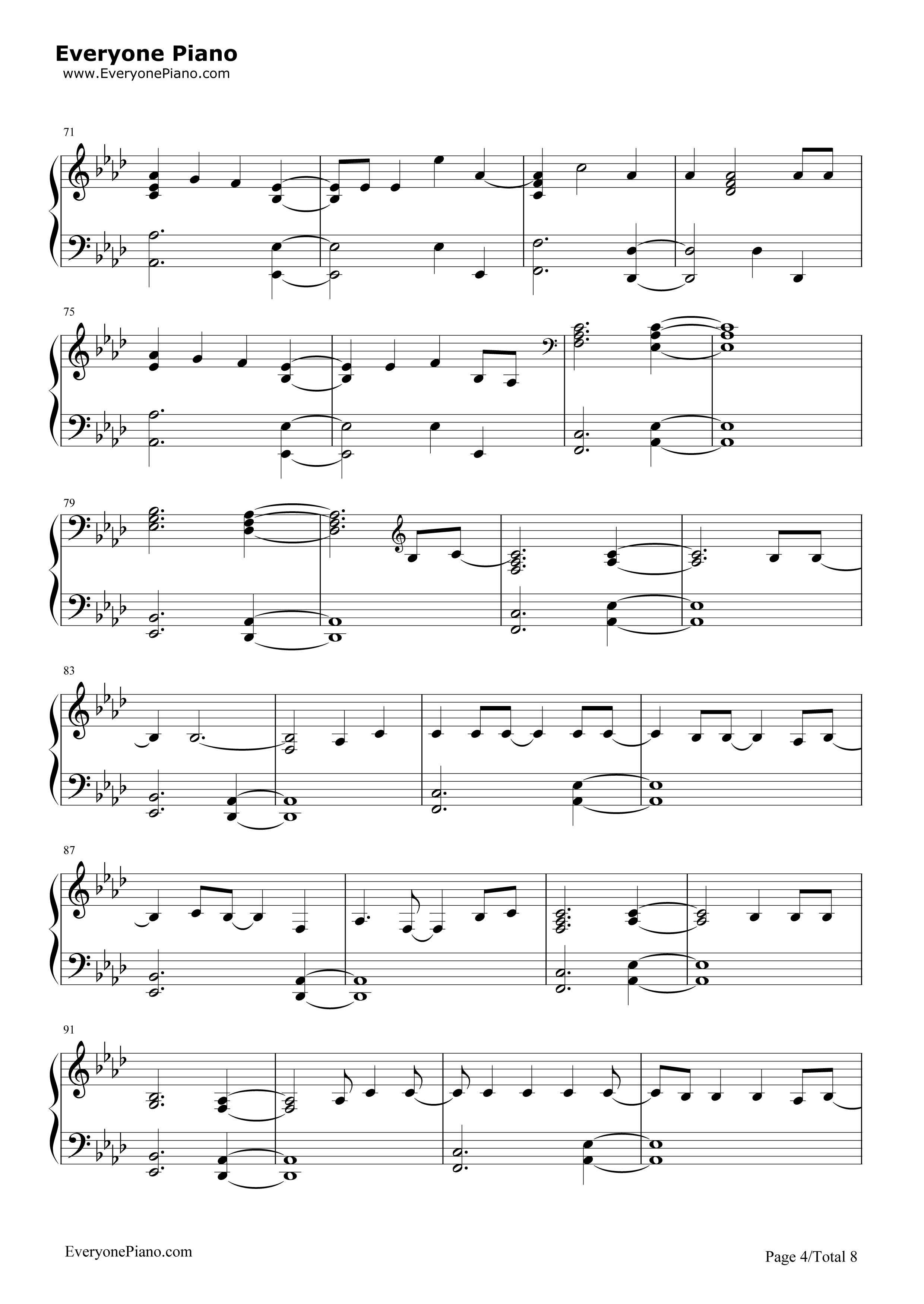 Hello-Piano Version-Adele Stave Preview 4-Free Piano Sheet Music u0026 Piano Chords