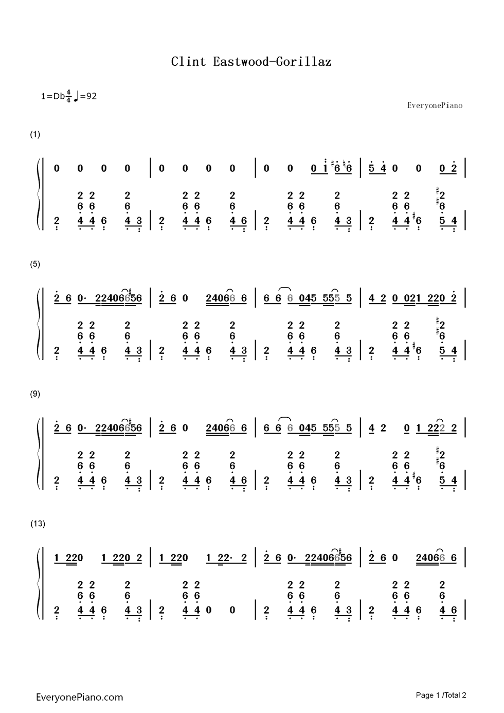 Clint Eastwood Gorillaz Numbered Musical Notation Preview