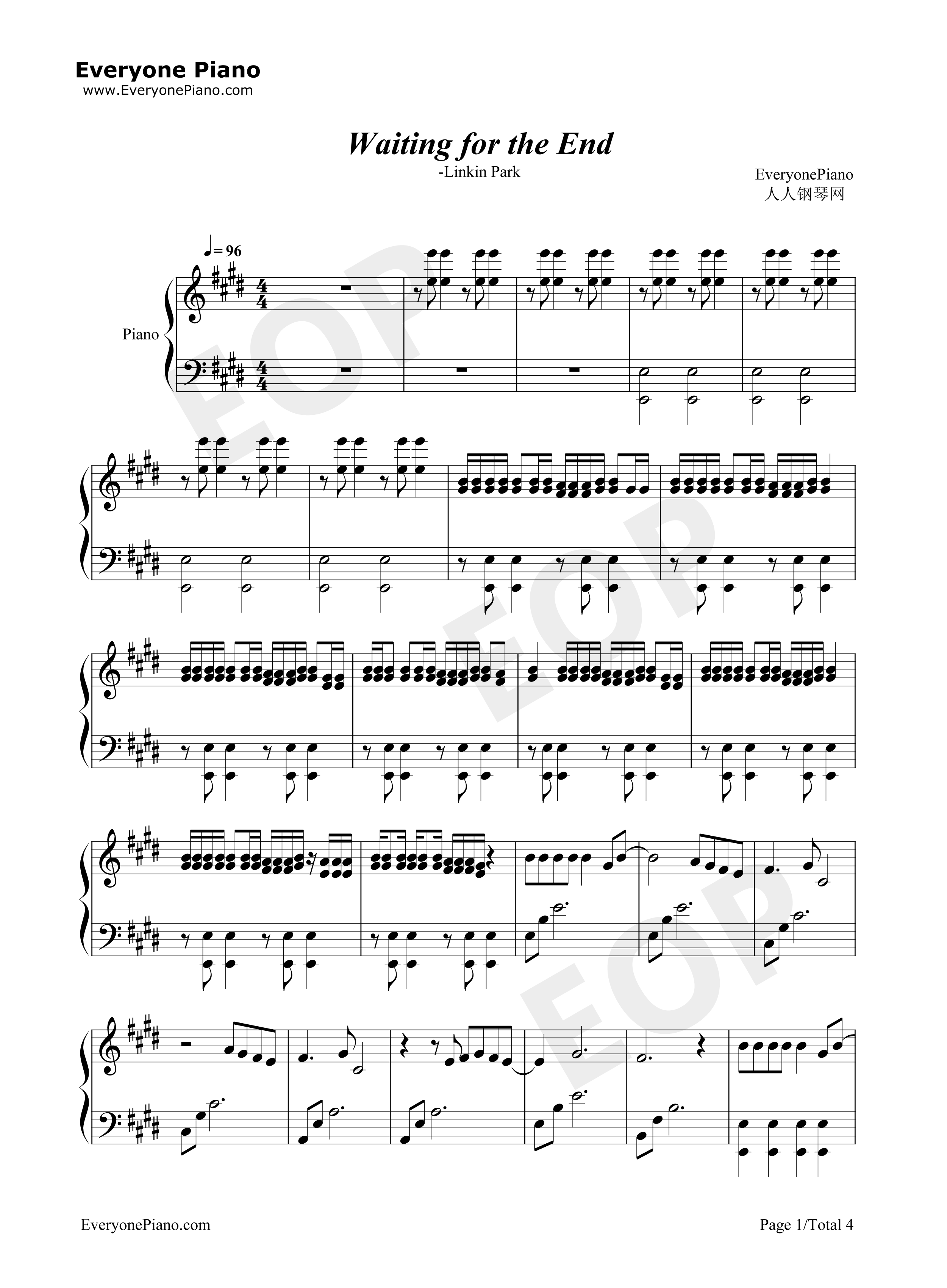 Waiting for the end linkin park stave preview 1 free piano sheet listen now print sheet waiting for the end linkin park stave preview 1 hexwebz Gallery